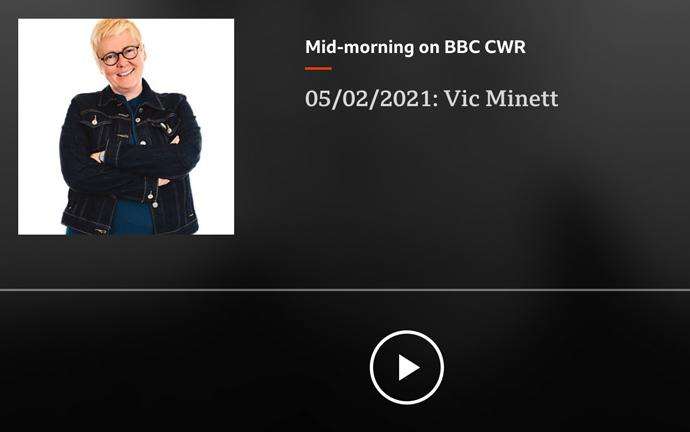 BBC CWR talking to Vic Minett